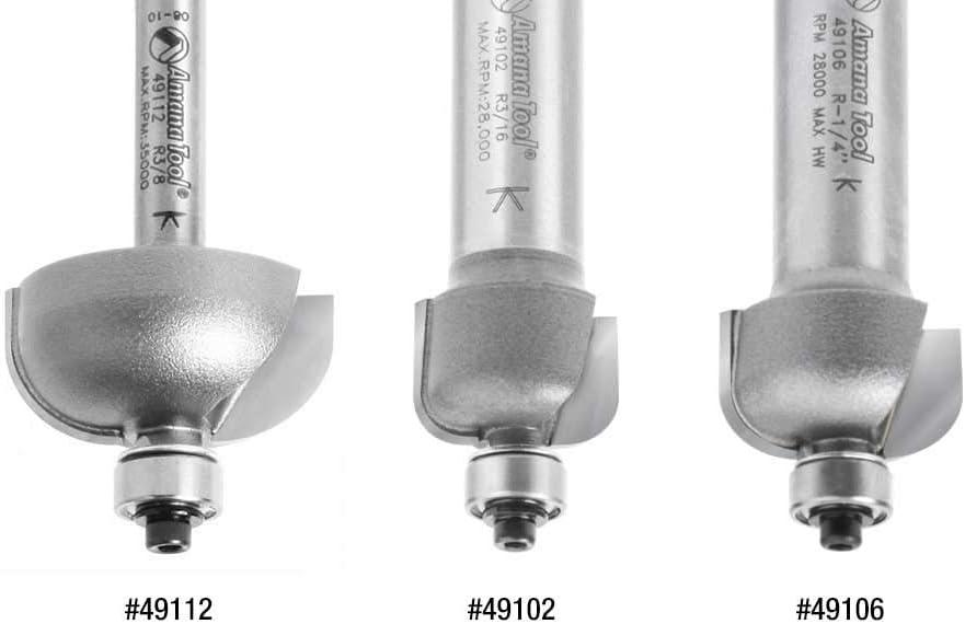 49112 Carbide Tipped Cove 3//8 Radius x 1-1//8 Dia x 9//16 x 1//4 Shank Amana Tool