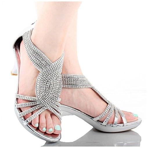 efefc8726 OLIVIA K Women's Open Toe Strappy Rhinestone Dress Sandal Low Heel ...