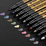 Metallic Markers Paints Pens - Medium Fine Point Metal Art Painting Markers for Gift Card Making, DIY Photo Album, Scrapbooking, Christmas Craft Kids - Works on Most Surfaces - Pack of 10
