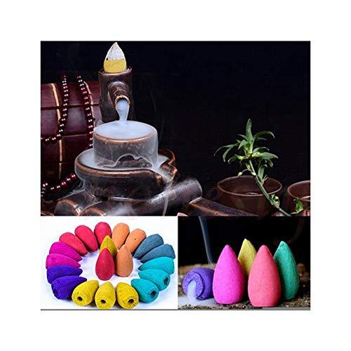 Backflow Incense Cones, Natural Backflow Smoke Cones for Backflow Incense Burner, Ideal for Home Office Yoga Room Kitchen bathroom Bedroom, Mixed Scents