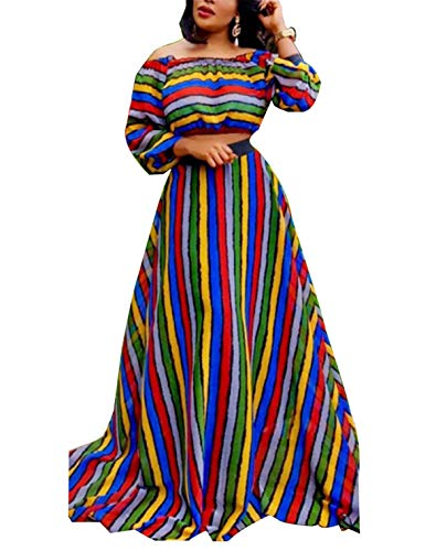 Women's Spring Autumn Fashion 2 Pieces Outfits Striped Off Shoulder Long Sleeve Crop Tank Tops Shirts + Maxi Swing Skirt Set Party Club Dress Colorful L ()
