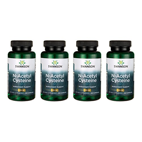 Swanson NAC N-Acetyl Cysteine Antioxidant Anti-Aging Liver Support & Amino Acids Supplement 600 mg 100 Capsules (4 Pack)