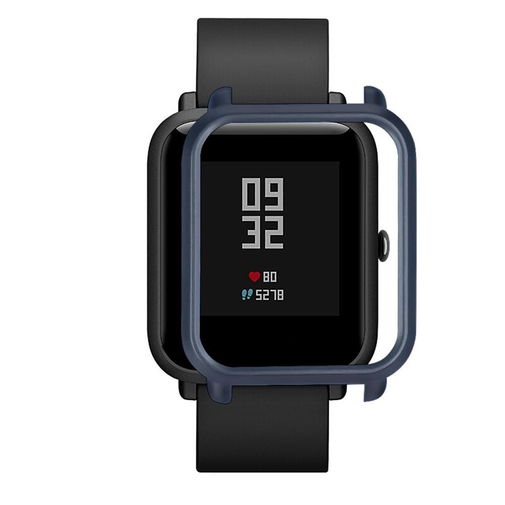 OUBAO PC Case Thin Cover Protect Colorful Shell for Xiaomi Huami Amazfit Bip Youth Watch Screen Protector Case Full 360 Protection Gel Bumper Cover (Navy) by OUBAO (Image #3)