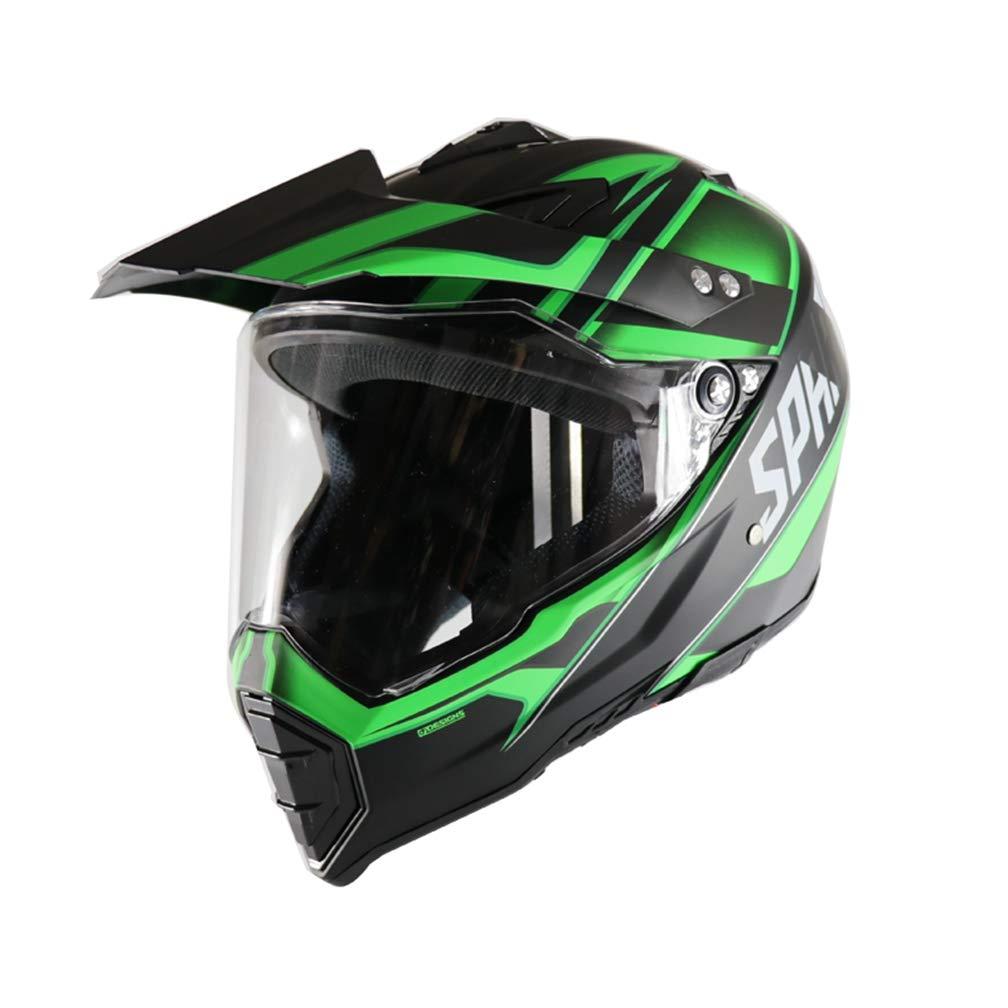 JAYE Motorrad-Helm, Persönlichkeit Vier Jahreszeiten Full Face DH Off-Road Motorcycle AM Mountain Bike Riding Helm für Erwachsene Männer Frauen,Grünarmy,S