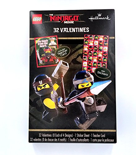 Lego Ninjago Movie Classroom Valentines Day Cards 32 Stickers Lloyd Teacher Card Photo #2