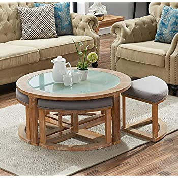 Amazoncom Ashley Furniture Signature Design Marion Contemporary - Round cocktail table with stools