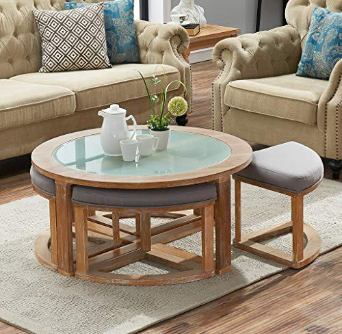 O&K Furniture Round Coffee Table with 4 Nesting Stools, Cocktail Height Coffee Table with Frosted Glass, 5-Pieces Set- Natural -