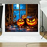 Sikye Halloween Backdrops, Pumpkin 5x3FT Lantern Photography Studio Vinyl Fabric Backdrop,150×90cm (D)