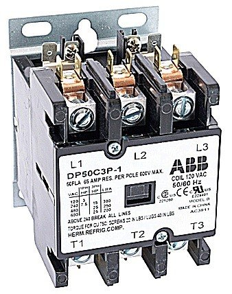 ABB, DP50C3P-2, 3 Pole, 50 Amps, 240VAC Coil, Definite Purpose Contactor