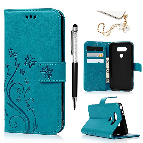 LG G5 Case, MOLLYCOOCLE Premium PU Leather Embossed Butterfly Notebook Wallet Cover with Kickstand Credit Card ID Slot Magnetic Closure Folio Flip Protective Slim Skin Cover for LG G5,Blue ()