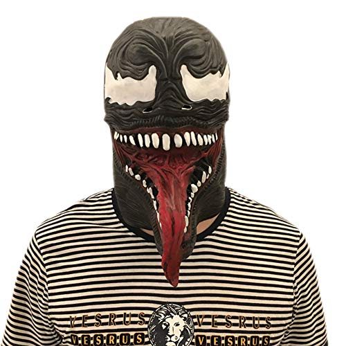 Black Horror Burger Mask Scary with Tongue Eye Halloween Mask -