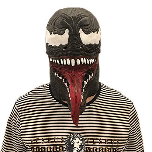 Black Horror Burger Mask Scary with Tongue Eye Halloween Mask
