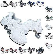 Women's Retractable Roller Skates Outdoor Girls Kick Roller Shoes Men Deformation Snea