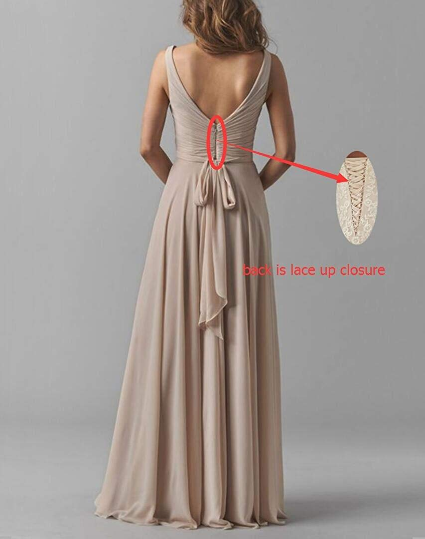 Olive Green Long Mother of Bride Groom Dresses for Wedding Plus Size V-Neck  Chiffon Formal Evening Party Gown for Women 2019
