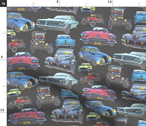 Spoonflower Antique Fabric - Automobiles Corvette Ford Chevy Model T Pontiac by Midcoast Miscellany Printed on Fleece Fabric by The Yard