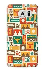 E1873 Western Pattern Funda Carcasa Case para Samsung Galaxy S6 Edge