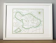 Maui, Hawaii, Letterpress Map Unframed Print