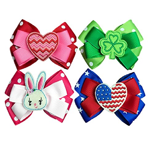 Hair Bows for Girls - Four Seasonal Hair Bows Boutique Grosgrain Ribbon - Clips to Hair- 4th of July-Holiday Shamrock Hair Clip