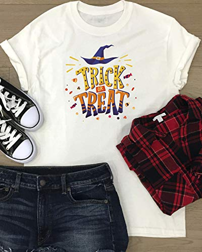 Halloween T-shirt Women Shirt Funny Trick Or Treat Witch Hat