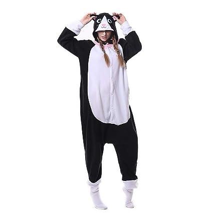 HSTV Unisexo Pijamas Animales Onesies Gato Negro Cosplay Disfraz Pijama Adulto Kigurumi Halloween Regalo,S