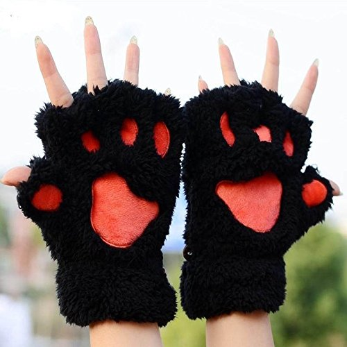 Cute Women Coral Winter Paw Gloves Fingerless Fluffy Bear Plush Mittens 5 Colors (Black) (Fancy Dress Boxing Gloves)