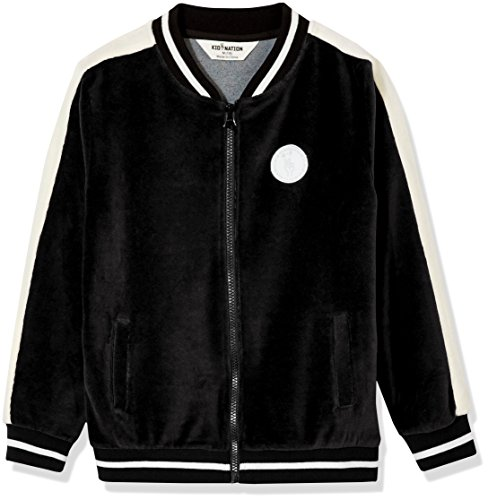 Kid Nation Kid's Velour Varsity Zip Front Jacket for Boys and Girls XL - Black Velour Zip Jacket
