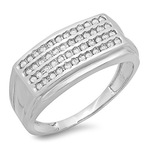 0.48 Carat (ctw) Sterling Silver Round White Diamond Men's Hip Hop Wedding Band (Size 11) by DazzlingRock Collection