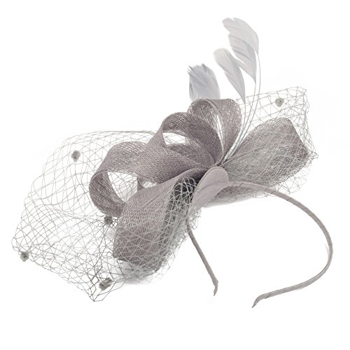 Lusiyu Fashion Women's Flower Feather Mesh Net Fascinator Headwear with Hair Clip (Gray)
