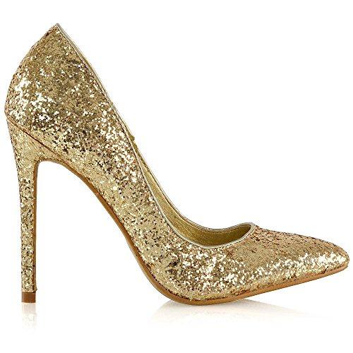 Essex Glam Kvinners Stiletthæler Glitter Punkt Tå Partiet Promenadekonsert Sko Gull Glitter