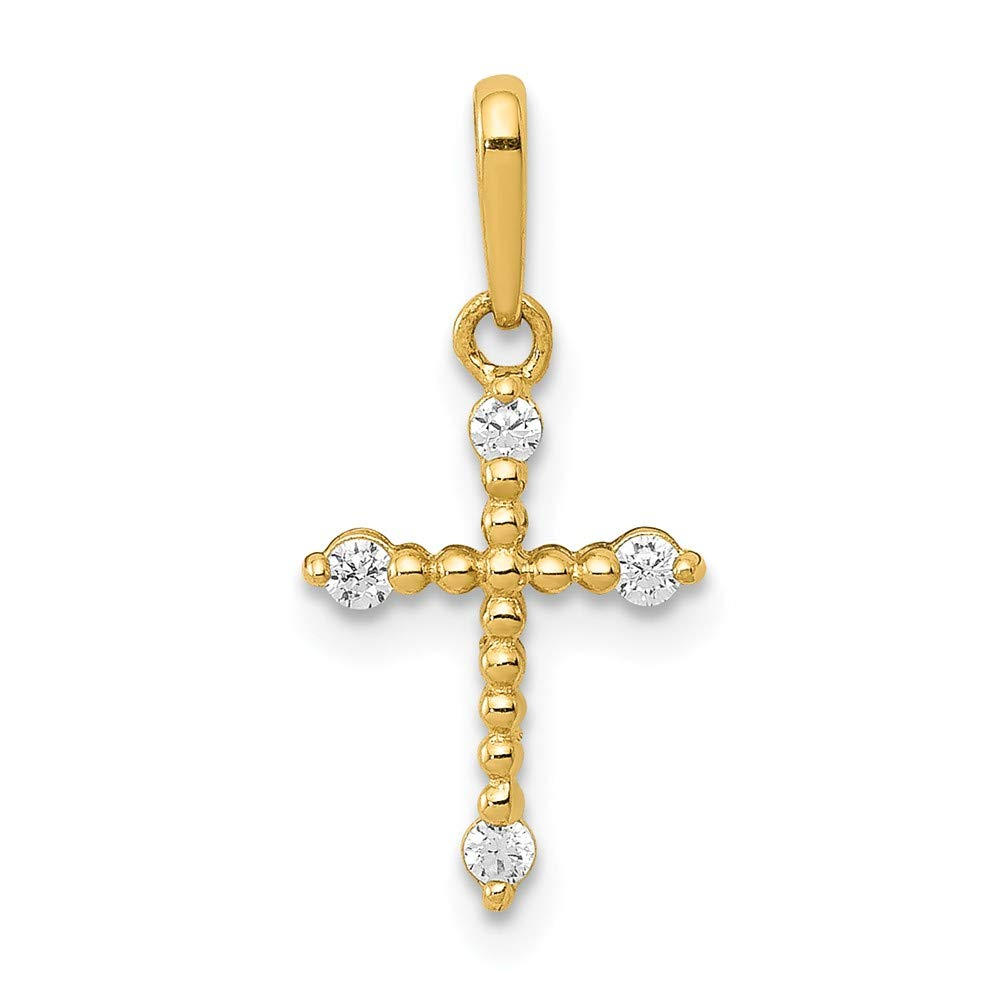 8.4mm x 17.1mm Solid 14k Yellow Gold Polished Beaded CZ Cubic Zirconia Cross Pendant Charm