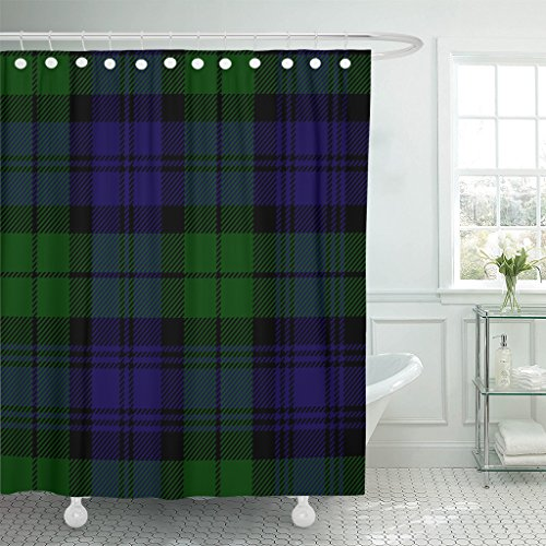 TOMPOP Shower Curtain Abstract Scottish Plaid in Green Black Blue Campbell Tartan Antique Watch Waterproof Polyester Fabric 72 x 72 inches Set with ()