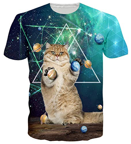 Unisex Manica Cat T Loveternal Casual Stampato 3d Corta Galaxy Grafica shirt nyvPNwm80O