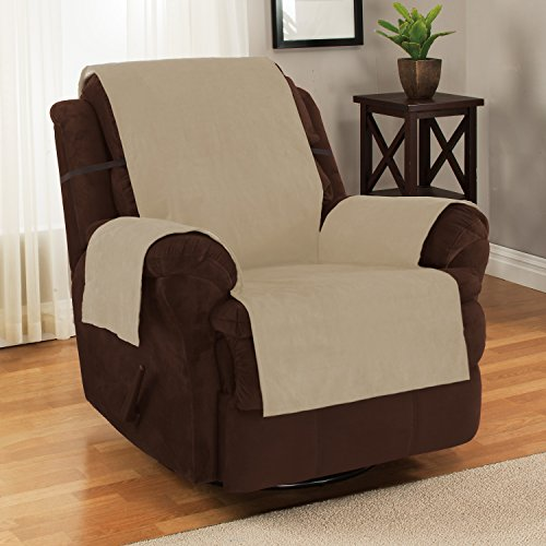 Furniture Fresh New and Improved Anti-Slip Grip Furniture Protector with Stay Put Straps and Water Resistant Microsuede Fabric (Recliner, Natural) - Optional Vinyl Cover