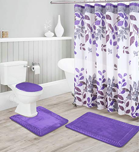 Luxury Home Collection 16 Piece Embossed Memory Foam Non-Slip Bathroom Rug Set Includes Bath Rug Mat, Contour Mat, Toilet Lid Cover, Shower Curtain, and 12 Metal Roller Hooks (Purple)