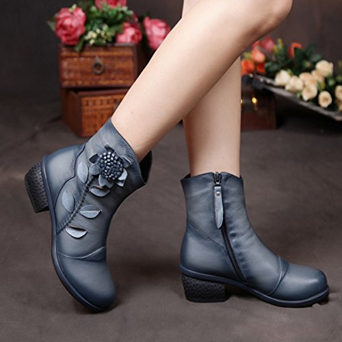 Socofy Damen Kurzschaft Stiefel, Damen Ankle Boots Blume Boots Kurz Stiefel Handmade Lederstiefel Leather Chukka Boots für Frau (Hersteller-Größentabelle IM Bild Beachten) Blau mit Fell