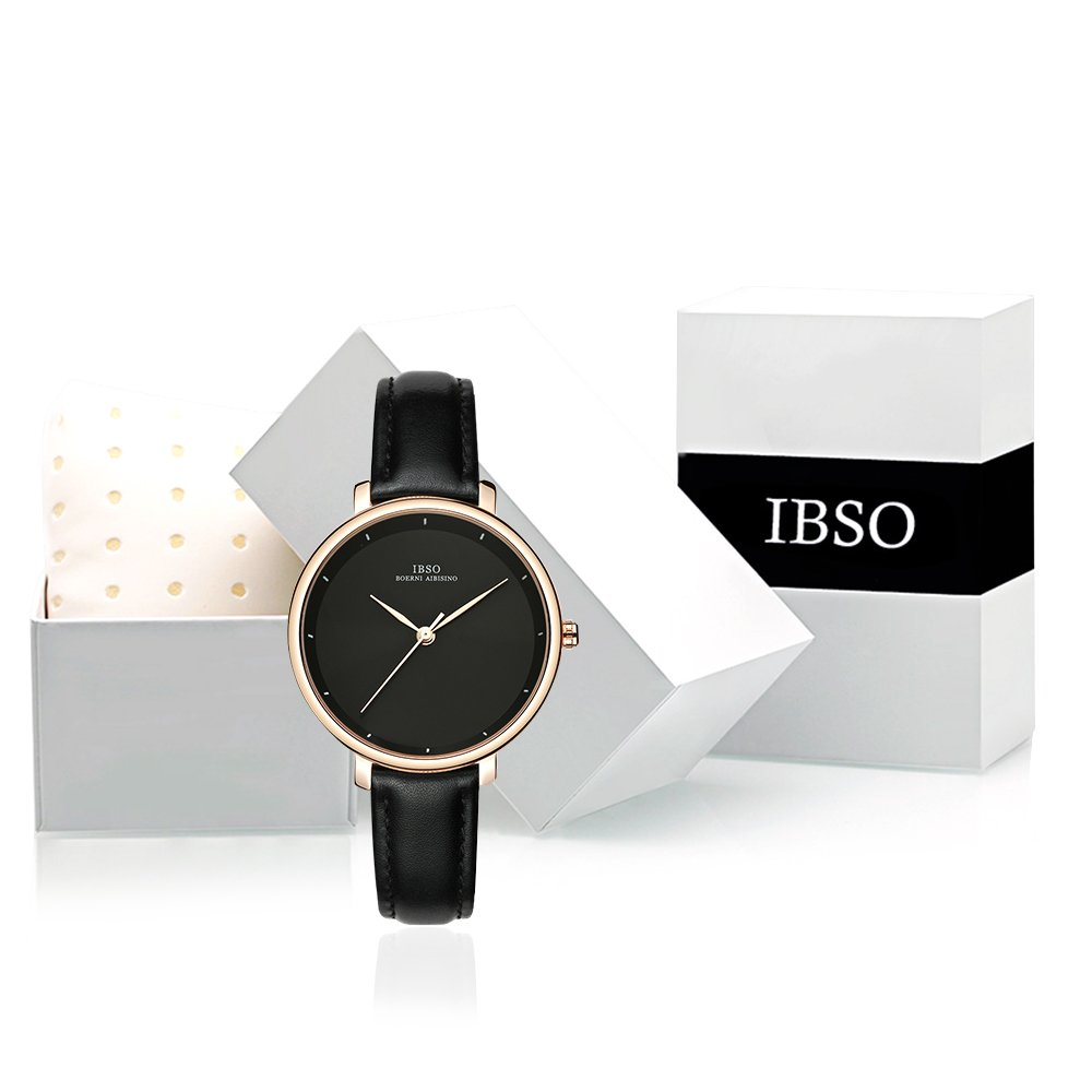Women Simple Face Watches Leather Band Luxury Quartz Watches Girls Ladies Wristwatch Reloj De Mujer (Black) by IBSO BOERNI AIBISINO (Image #8)