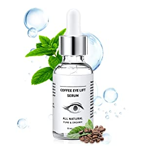 Under Eye Serum - Eye Serum for Dark Circle, Eye Puffiness, Eye Bag Treatment, Anti Aging/Wrinkle Eye Moisturizer with Hyaluronic Acid, Glycerin & Caffeine Eyes Serum for Men or Women