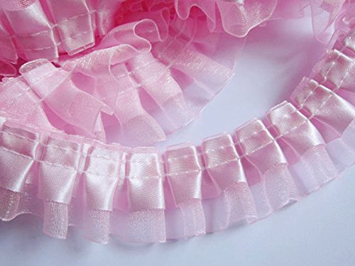 (YCRAFT Pack of 5y Two Tone Satin Organza Lace Edge Trim 1.5