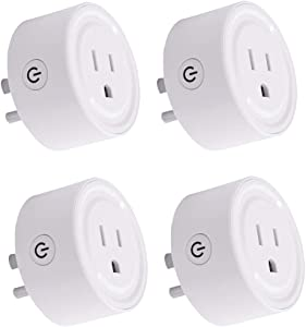 [4PC] HIBRO WiFi Smart Plug Work with Alexa and Google Home & IFTTT,No Hub Required,Smart Outlet Mini Socket Alexa and Google Assistant Supports 2.4GHz WiFi Network (4, WiFi Smart Plug)