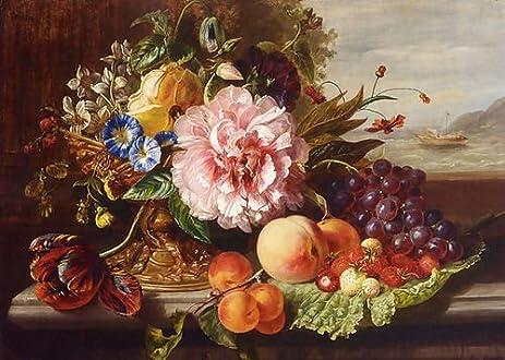 Helen Augusta Hamburger A Still Life With Flowers And Fruit 55x40 Kitchen