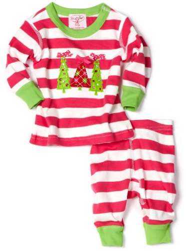 Mud Pie Baby Girls' Triple Tree Long Johns 2 Piece Set, Multi, 0 6 -