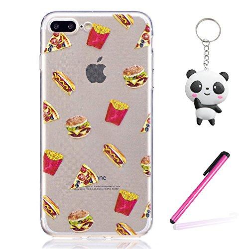 Coque iPhone 8 Plus Hamburger frites Premium Gel TPU Souple Silicone Transparent Clair Bumper Protection Housse Arrière Étui Pour Apple iPhone 8 Plus + Deux cadeau