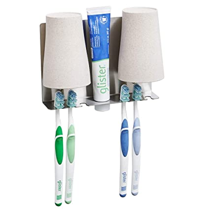 BESY Kit de soporte para cepillos de dientes multifunción adhesivo, soporte para pasta de dientes