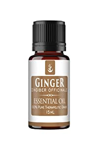 PURE Ginger Essential Oil (15 ml), Convenient Dropper Cap Bottle, Food Safe, Helps Reduce Nausea, Aids in Digestion, Hot, Spicy Aroma