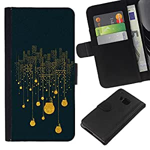 WINCASE Cuadro Funda Voltear Cuero Ranura Tarjetas TPU Carcasas Protectora Cover Case Para HTC One M9 - luces idea azul profundo simbolismo