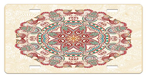 Lunarable Mandala License Plate, Oriental Mandala Figure Vintage Style Boho Art Geometric Forms Pattern Image, High Gloss Aluminum Novelty Plate, 5.88 L X 11.88 W Inches, Red Cream Green
