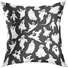 Mugod Decorative Throw Pillow Cover Case for Couch Sofa Bed Home Decor,Spooky Ghost Halloween Holiday Horror Night Monster of Flying Phantom Poltergeist with Scary Skull Pillow case 18x18 Inch