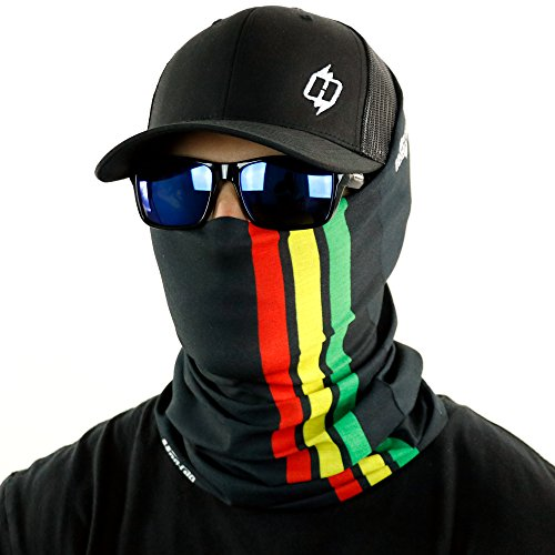Rasta Stripe Bandana Neck Gaiter And Even A Dread Wrap By Hoo-rag - Rock The Rag In (Rasta Face)