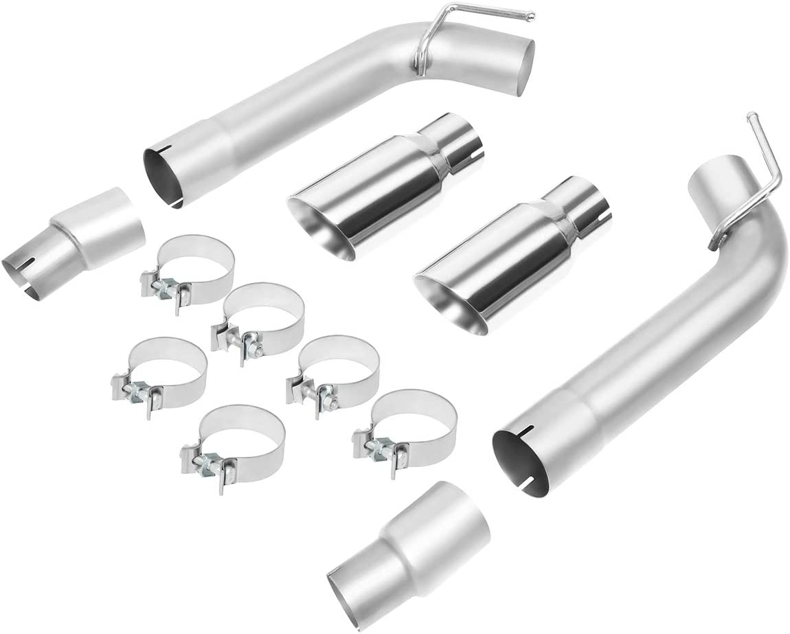 Axle Cat Back Exhaust System w//Dual 4 Inches OD Stainless Steel Muffler Tip for Chevy Camaro 3.6L 6.2L 7.0L 10-15