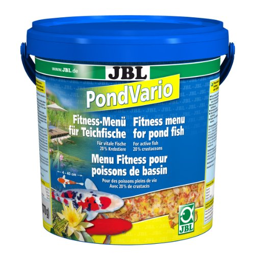 JBL 40298 Hauptfutter Mix für alle Teichfische, Futterflocken, Sticks, Krebstiere PondVario, 1er Pack (1 x 10.5 l)
